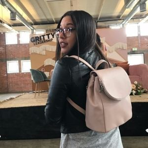 Pale Millennial Pink Backpack with Silver Details